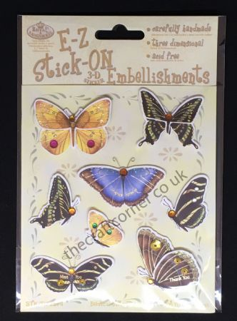 Beautiful Butterflies Glitter and Gem E-Z Stick-On Embellishments